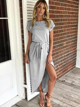 Load image into Gallery viewer, Solid Color Split-front Round-neck Maxi Dress