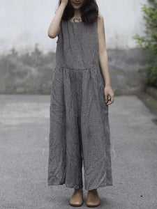 Free Size Linen Cotton Sleeveless Pockets Wide Leg Pants Jumpsuit