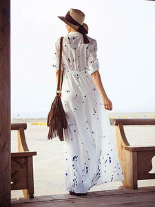 Fashion Floral-Printed Long Sleeve Lapel Collar Floor Maxi Dress