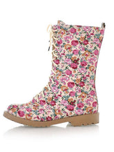 Load image into Gallery viewer, Women Floral Martin Low-heel Boots Shoes