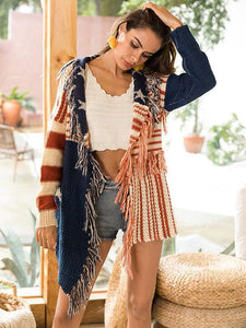 Knit Tassel Long Sleeve Cardigan Tops