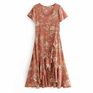 Bohemian Floral Hollow Asymmetrical Ruffled Hem Flowing Dress