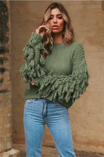 Load image into Gallery viewer, Solid Color Round Neck Long Sleeve Tassel Sweater
