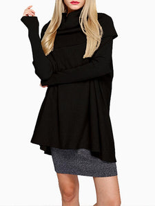 Pure Color Turtleneck Long Sleeve Loose Sweaters For Women