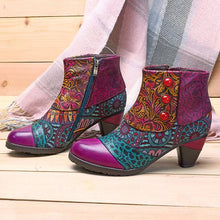 Load image into Gallery viewer, Boho Splicing Pattern Button Zipper Ankle Leather Boots