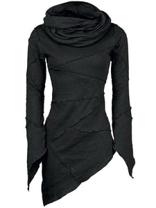 Stylish Bar Women Slim Turtleneck Blouse Scarf Collar Asymmetric Sleeves Skew Hem Tops