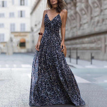 Load image into Gallery viewer, Sexy Leopard Print Spaghetti Strap Maxi Long Dress