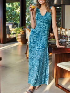 New Bohemian Holiday Dress Sleeveless Stitching Printed Dress