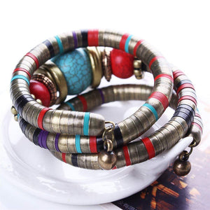 Multilayer Bohemian Turquoise Flexible Bracelet