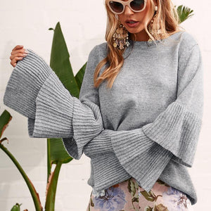 Knit Round Neck Ruffle Sleeve Grey Sweater