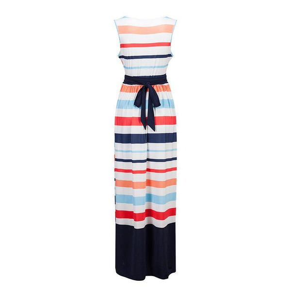 Stripe Sleeveless Beach Maxi Dress