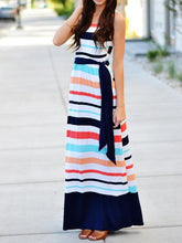 Load image into Gallery viewer, Stripe Sleeveless Beach Maxi Dress