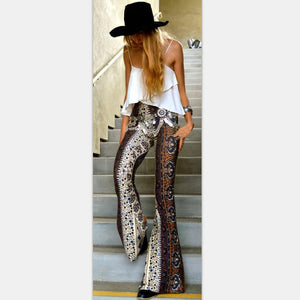 Floral Boho Hippie Casual Loose Wide Leg Flared Pants