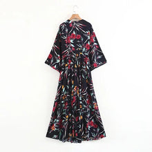 Load image into Gallery viewer, Bohemian Kimono Holiday Beach Floral  Vintage Gypsy Folk Maxi Long Dress
