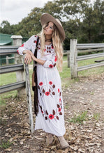 Load image into Gallery viewer, Floral Long Sleeve Split Beach Maxi Dress