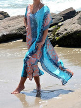 Load image into Gallery viewer, 2018 New Chiffon Print Short Sleeve Plus Size Beach Maxi Dress