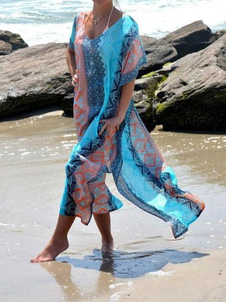 2018 New Chiffon Print Short Sleeve Plus Size Beach Maxi Dress