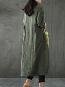 Solid Color Linen Cotton Loose Maxi Dress