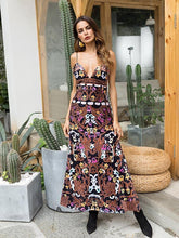 Load image into Gallery viewer, Print Spaghetti Strap V Neck Beach Maxi Dress