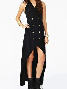 Double Breasted High Low V Neck Sleeveless Halter Going Out Dress