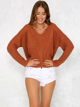 Load image into Gallery viewer, Fashion Solid Color V-neck Halterback Bandage Sweater Tops