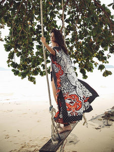Printed Bohemian Holiday Wind Cardigan Jacket Sun Protection Clothing Long Beach Cover-up