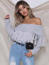 Load image into Gallery viewer, Knit Off Shoulder Long Sleeve Tassel Sweater