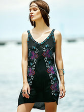 Load image into Gallery viewer, Bohemian STYLE flower color embroidery V neck retro wind dress skirt