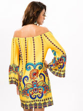 Load image into Gallery viewer, Pretty Floral Bohemia Off Shoulder Long Trumpet Sleeve Bodycon Mini Dress