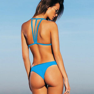 Straps hanged back bikini swimsuit in 3 colors