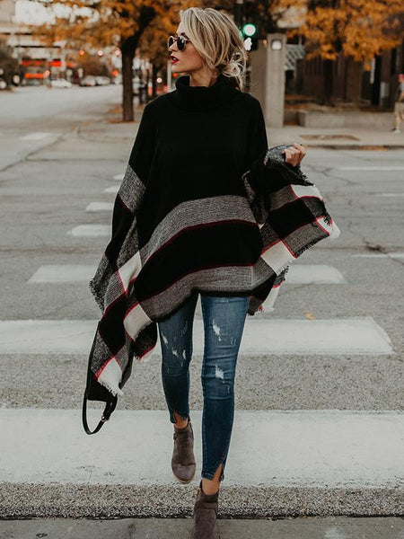 Fashion High-neck Knitting Sweater Cover-Ups Tops