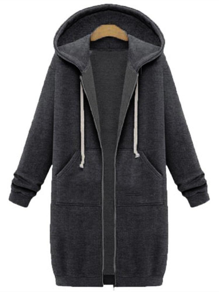 Casual Women Long Sleeve Zipper Hooded Pocket Coats