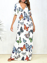Load image into Gallery viewer, Print Butterfly Short Sleeve V-neck boho long Dress