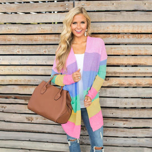 Rainbow Long Sleeves Color Block Knitted Cardigan Sweaters