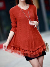 Load image into Gallery viewer, Women Long Sleeve Lace Stitching Pure Color Knitted Sweaters