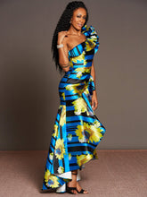 Load image into Gallery viewer, Elegant Fashion Printed Irregular Off The Shoulder Party Dress