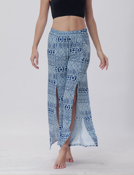 Summer Trousers with Split Legs and Horn Printed Trousers Yoga Pants Casual Loose Leisure Pants