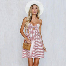 Load image into Gallery viewer, Sexy Stripe Spafhetti Strap High Waist Casual Mini Dress