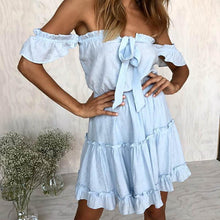 Load image into Gallery viewer, Off Shoulder Backless Casual Short Mini Dress