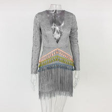 Load image into Gallery viewer, Hook Flower Hollow Tassel Deep V Long Sleeve Stitching Mini Dress