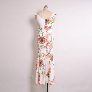 Sexy V-neck Floral Printed Chiffon Mermaid Maxi Dress