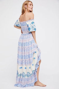 2018 New Printed Off Shoulder Beach Boho Maxi Long Dress