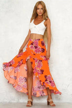 Load image into Gallery viewer, Ruffled Summer Holiday Split Floral Beach Skirt