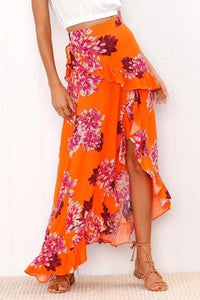 Ruffled Summer Holiday Split Floral Beach Skirt