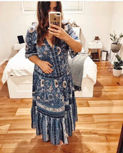 Load image into Gallery viewer, Summer Retro Print Short Sleeve Maxi Dress
