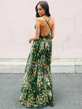 Load image into Gallery viewer, Bohemia Floral V Neck Backless Maxi Dress