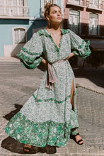 Load image into Gallery viewer, Bohemia Green Long Sleeve Side Split Maxi Dress