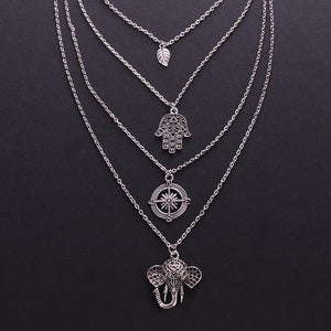 Boho Multi-layer Leaf Elephant Pendant Necklace