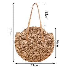 Load image into Gallery viewer, Summer Beach Round Straw Shoulder Bag