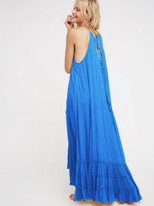 2018 Beach Solid Color Halter Ruffle Maxi Dress